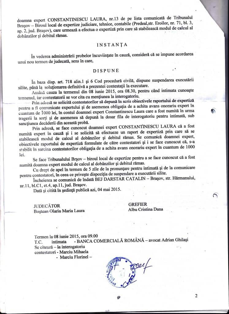 Suspendare Marciu Mihaela. 2