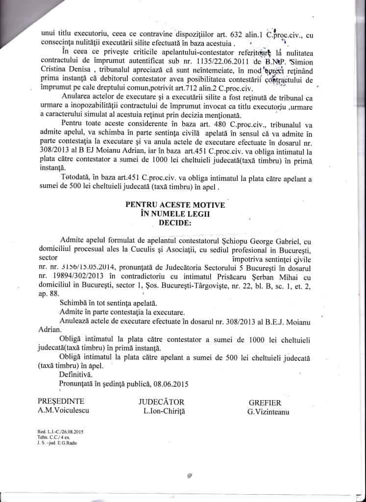 Anulare contract executare silita