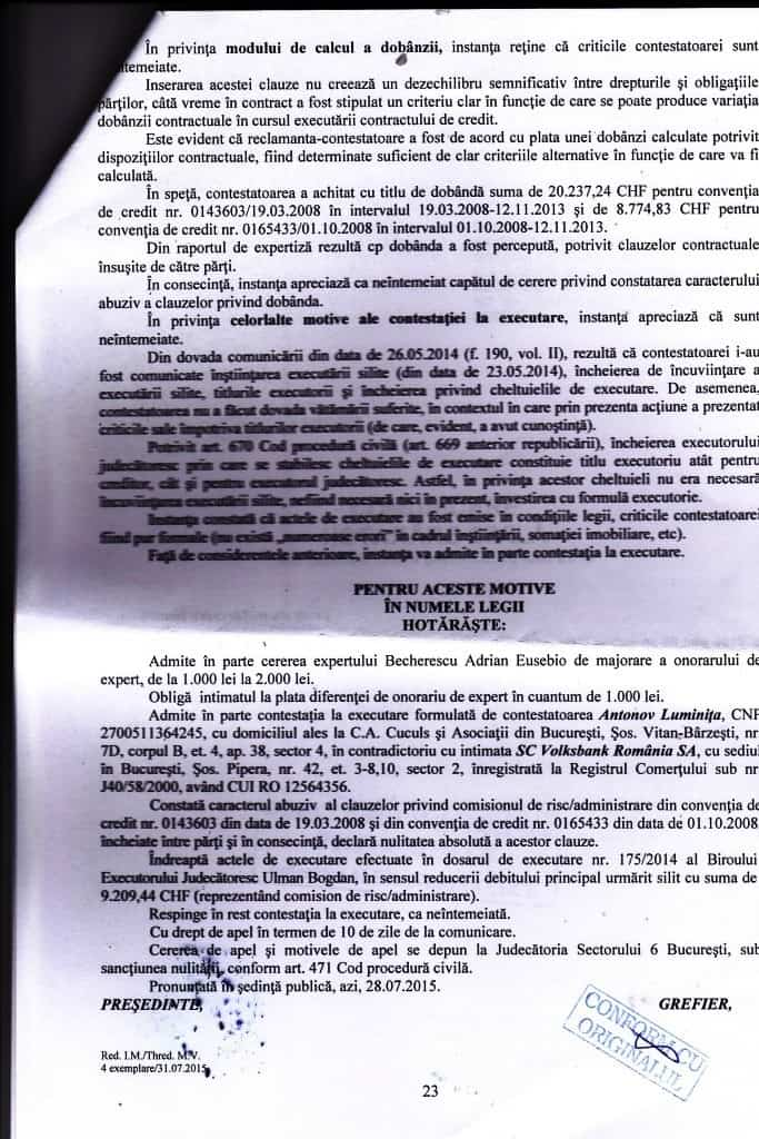 sentinta avocat cuculis volksbank comisioane abuzive executare silita
