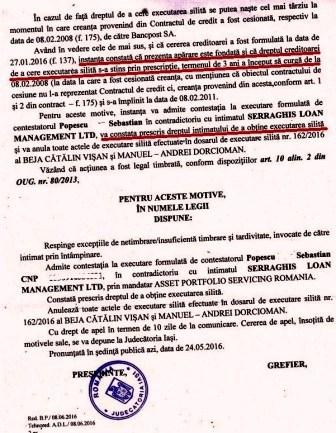 Bancpost executare silita anulata avocat