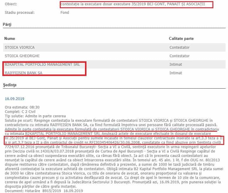 Executare Silita B2 Kapital - Avocat contestatii la executare silita